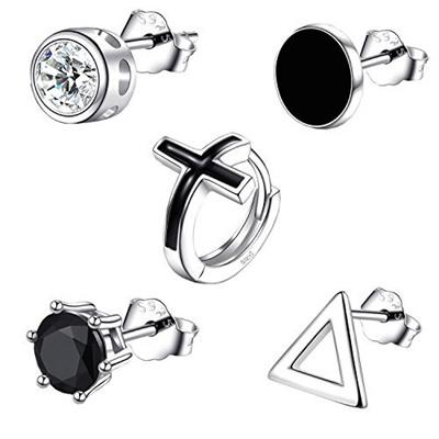ca6d3f65e41a0 Earrings for Men 5 SINGLE Mens Hoop Stud Earrings Set 925 Sterling Silver  CZ Hypoallergenic Fashio