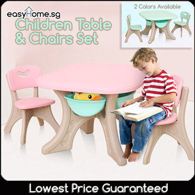 CTC Children Table N Chairs Set/ Storage Under Table / Study Dining Kids  Furniture
