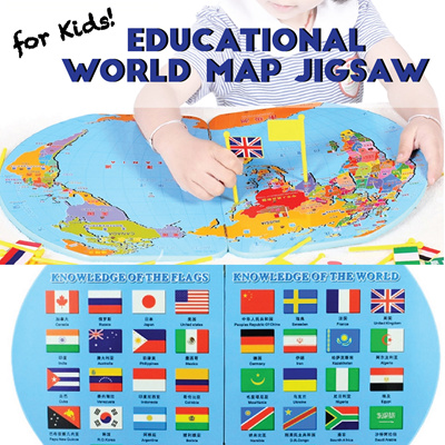 Qoo10 kids world map toys educational world map jigsaw for kids match flags and countries on the map gumiabroncs Choice Image