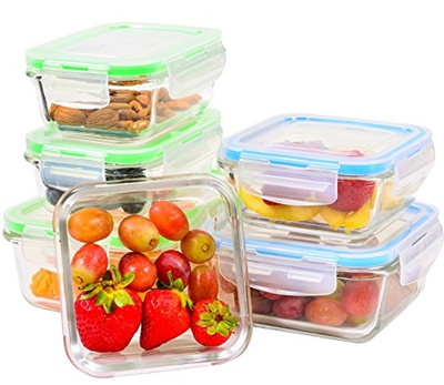 Glass Food Storage Containers With Locking Lids Gorgeous Qoo60 Elacra Glass Food Storage Containers With Locking Lids