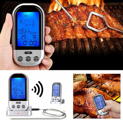 Wireless Digital Thermometer LCD Remote BBQ Grill Meat Kitchen Oven Food Cooking