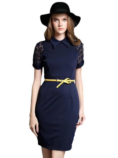 5befd836e412e Elegant Lace Crochet Solid Turn Down Collar Women Dress Without Belt