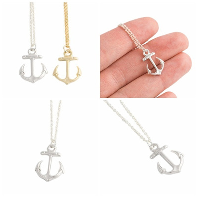 Qoo10 elegant silver gold anchor charm pendant bib chain necklace elegant silver gold anchor charm pendant bib chain necklace women jewelry gift ice crystals aloadofball