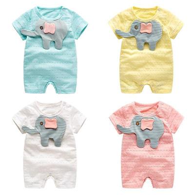 aecc2bfdd Qoo10 - Elephant Pattern Short Sleeve Pant Newborn Baby Jumpsuit+ ...
