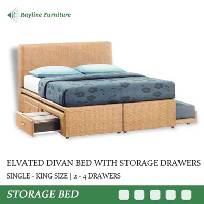 Elevated Bed Frame With Storage Drawers Single King 2 4