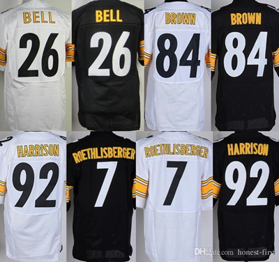 sale retailer ff4eb f755e Elite Mens Jerseys #84 Antonio Brown #7 Ben Roethlisberger #26 Le' Veon  Bell Home Stitched Jerse