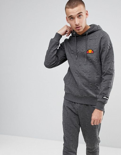 5205cbe7 Ellesse Hoodie With All Over Embossed Logo In Gray