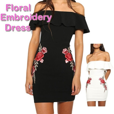 80cd8bbcfd1 Embroidery Dress Black White Ruffle Off Shoulder Velvet Bodycon Dress  Floral Sexy Women Short Sleeve