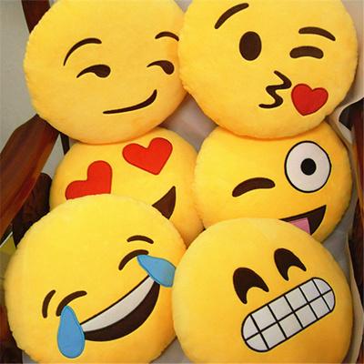 Qoo10 - Emoji Smiley Emoticon Round Yellow Cushion Pillow/Cushion Pillow/Stuff... : Furniture & Deco