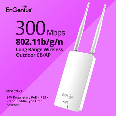 ENGENIUS Outdoor Wireless Access Point N300 2 4 GHz Removable Antennas -  Maximizes Outdoor Network