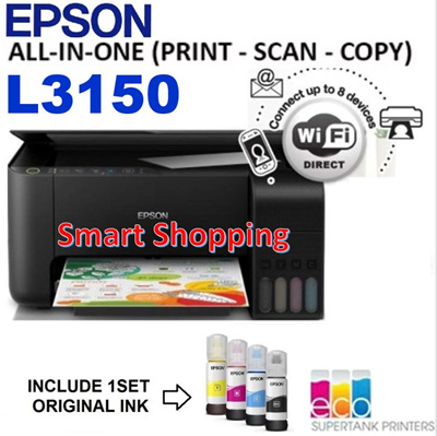 EpsonEpson L3150 Ink Tank Printer L3150 Print Scan Copy EcoTank All-in-One  L 3150 L-3150 Eco Tank