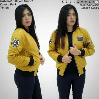 Qoo10 - ERDS Jaket Bomber Wanita Slim Kicksoogar Yellow   Women s Clothing ccd4692e21