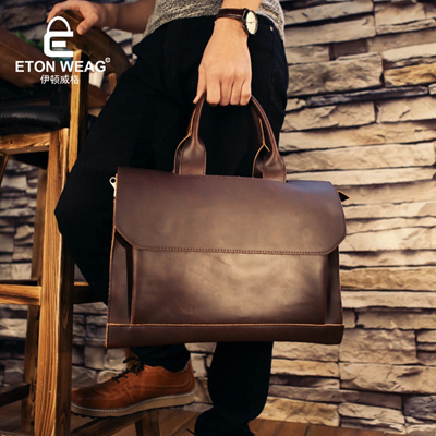 1df263f414 Qoo10 - ETONWEAG Brands Cow Leather Briefcases Men Messenger Bags Brown  Vintag...   Men s Bags   Sho.
