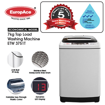 Europace*1 Day Sale* EuropAce 7 KG Top Load Washer - Honeycomb Drum - *5  YEARS MOTOR WARRANTY* 3 TICKS