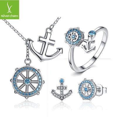 b10912343ba1f Europe and the United States fashion big style navy style anchor jewelry  ring earrings sterling silv