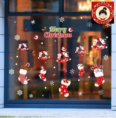 (Extra Large) Christmas Wreath Stockings Christmas Decorations Wall Stickers Malls Restaurant Bars C