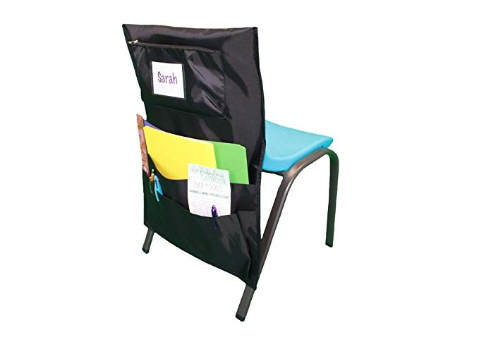 Fabulous Classroom Seat Back Chair Pockets Pack of 6 Black