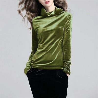 9692c2ce5e0e4 factory 2018 Autumn Winter Plus Size M-5XL 6XL 7XL Gold Velvet Tops Woman  Casual Turtleneck Solid Co