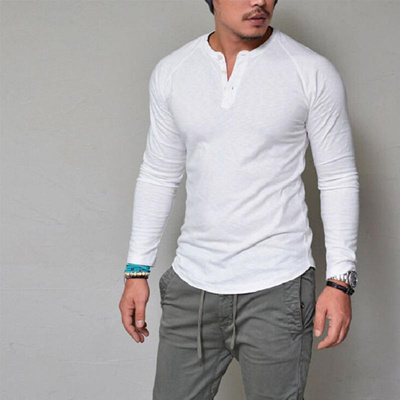 04a4026fac4ad Qoo10 - factory Fashion Men Slim Fit V Neck Long Sleeve Muscle Tee T-shirt  Cas...   Men s Apparel