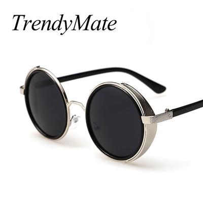 factory Fashion Metal Frame Gothic Steampunk Sunglasses Women Unique Men  Round Coating Sun Glasses V df4bf4bf47