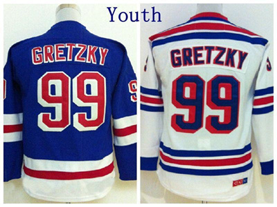 release date: 781f9 e4f9c Factory Outlet, Youth NY #99 Wayne Gretzky Jersey New York Rangers Hockey  Jerseys Kids Home Blue Roa