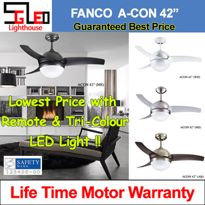 Fanco Ceiling Fan Acon42 With Light And Remote Control Upgrade 3 Color Led Safety Mark