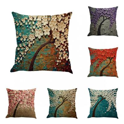 Fashion 3D Vintage Live Tree Flower Pillow Case Sofa Waist Throw Cushion  Cover Home Decor 45x45cm dde97543f7