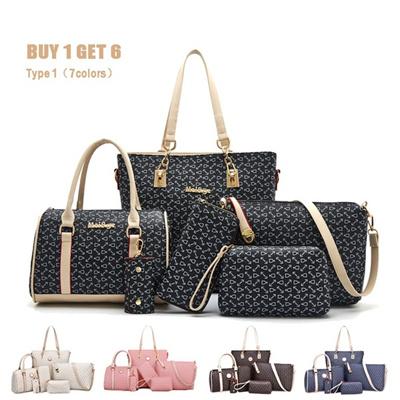 03865caa9927 Qoo10 - Fashion 6-Pcs Sets Women Shoulder Bag PU Leather Tote Handbag  Crossbo...   Skin Care