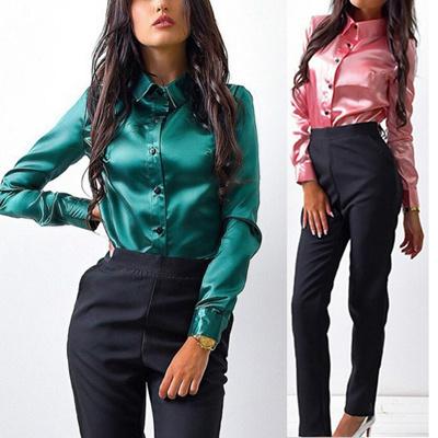 1b39996137b Qoo10 - Fashion Autumn Women Silk Satin Blouse Casual Button Lapel Long  Sleeve... : Sports Equipment