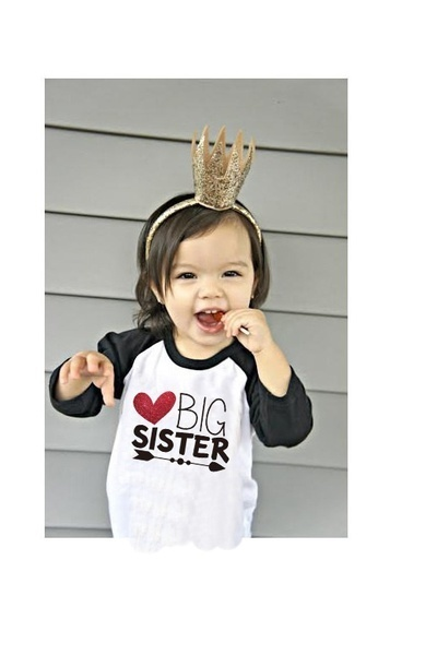 2a8f35267 Qoo10 - Fashion Baby Letter Printing Glittle Big Sister Shirt Arrow ...