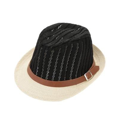648be0999f2 Qoo10 - Fashion Boy Girl Straw Hat Hollow Sheer Mesh Contrast Belt Fedora  Curl...   Women s Clothing