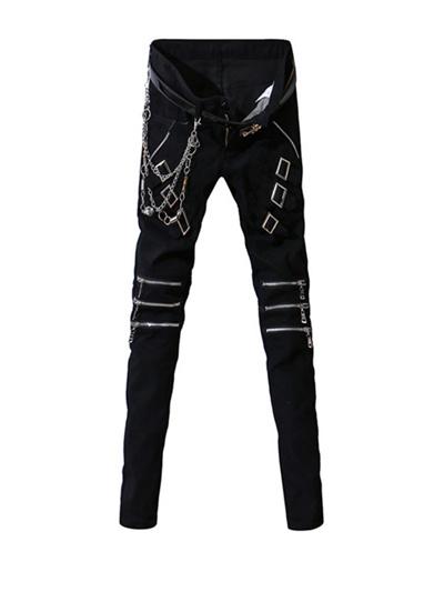 7ae54268b4a Qoo10 - Fashion Buckle Design Skinny Men s Pants   Women s Clothing