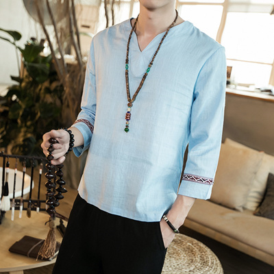 b064297c8ff9f Qoo10 - Fashion Chinese Style Summer Cotton And Linen V-Neck Loose Large  Size ...   Men s Apparel
