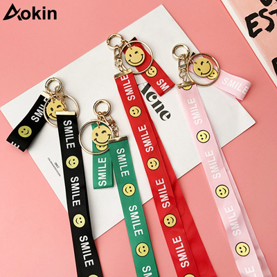 Fashion Cute Smile 2 in 1 Badge Lanyard Keys ID Card Holders Phone Neck  Straps iPhone Huawei Rope