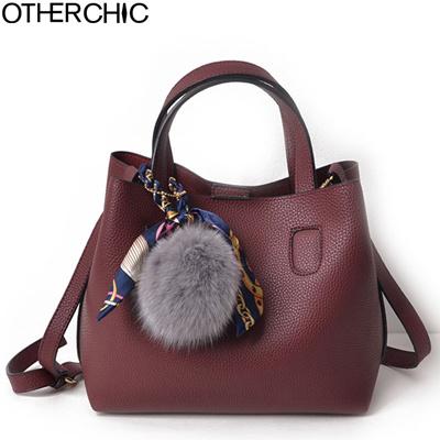 e31ce534ff00 Qoo10 - Fashion Faux Leather Women Handbags Burgundy Solid Women Double Bags  A...   Bag   Wallet