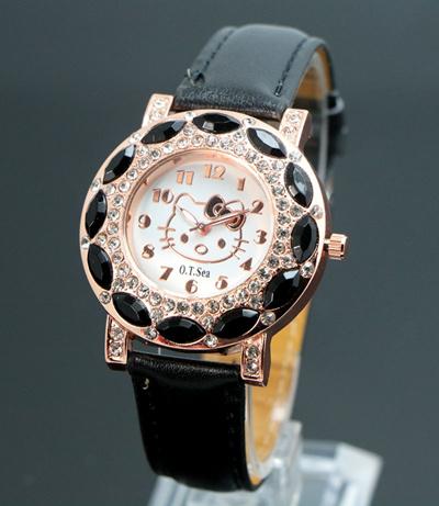 500ffaa41 Qoo10 - fashion hello kitty wrist watch children girl women leather crystal  qu... : Watches