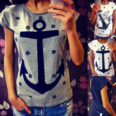 Fashion Kapas Jilid Cetak Sikat Lengan Pendek Lengan Pendek Blus Tops    T-Shirts 755da3ee07