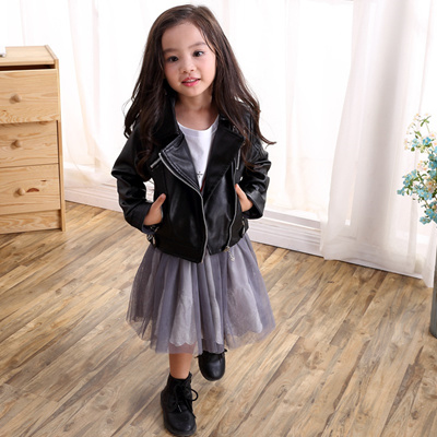 1356c8e93151 Qoo10 - Fashion Kids Leather Jacket Girls PU Jacket Children Leather ...