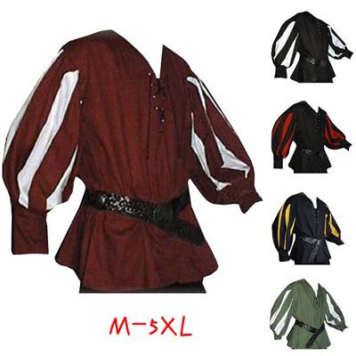 Fashion Medieval Shirt Lace-up Men Shirts Pirate Reenactment Renaissance  Landlord Knight Casual Shir