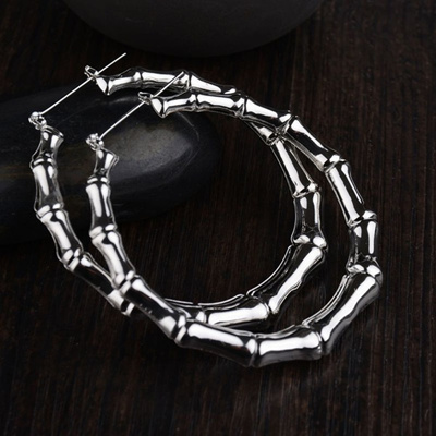 80ca36d7bd6d5 Fashion Personality Exaggerated Big Large Bamboo Hoop Earrings for Girls  Circle Earring Jewelry For