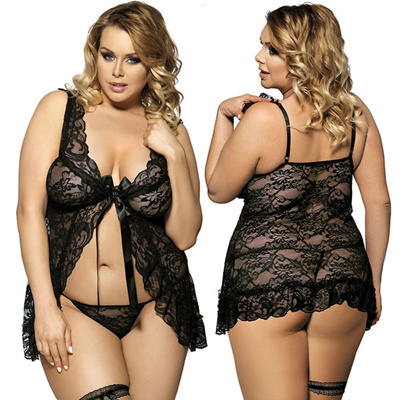 25cfee98ee6 Qoo10 - Fashion Plus size Sexy lingerie Black Floral Sheer Lace Fly-Away  Plus ...   Computer   Game