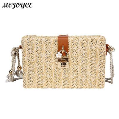 d274d611d34f Qoo10 - Fashion Straw Weave Lock Bags Women s Handbags Retro Fresh Style Box  T... : Men's Bags & Sho.