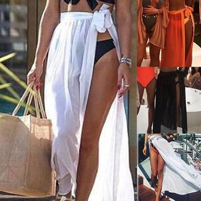 28a09542604a5 Fashion Summer Women Sexy Bikini Cover Up Lace-up Swimwear Sheer Beach Maxi  Wrap Skirt