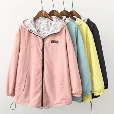 Fashion Wanita Dua Sisi Cetak Pakai Lengan Kantong Jaket Lengan yang Lemah 810d2da422