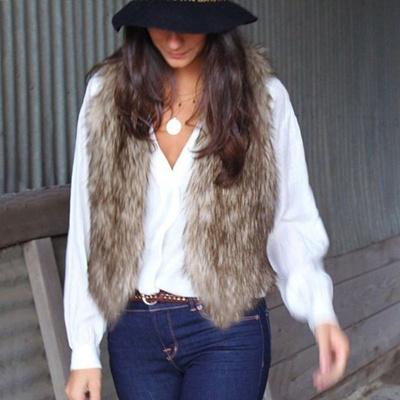Fashion Wanita Hangat Sleeveless Faux Fur Rompi Lambang Pakaian Luar Jaket  Jaket d5aad56197
