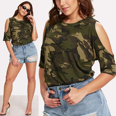 5b41968da84 Qoo10 - Fashion Women Casual O-Neck Plus Size Camouflage Tops T-Shirts  Straple...   Women s Clothing
