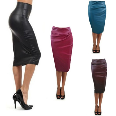 8fca8ab7c6798 Fashion Women Faux Leather Sexy Pencil Skirt Chic Plus Size Clothing Sheath  Lady Knee-Length