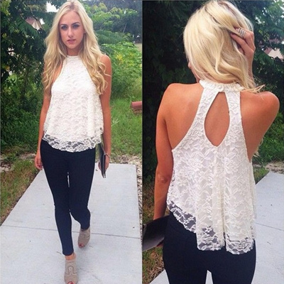 ff26c96fe0c229 Qoo10 - Fashion Women Halter Top Lace Camis Floral vest shirts Sexy Backless  C...   Women s Clothing