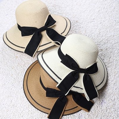 Fashion Women Lady Summer Big Bow Large Brimmed Hats Straw Bucket Sun Hat  Summer 16952dd269a