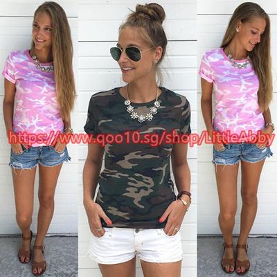 1de344a753a Fashion Women Summer Camouflage Army Green T Shirt Short Sleeve Casual Lady  T-Shirt
